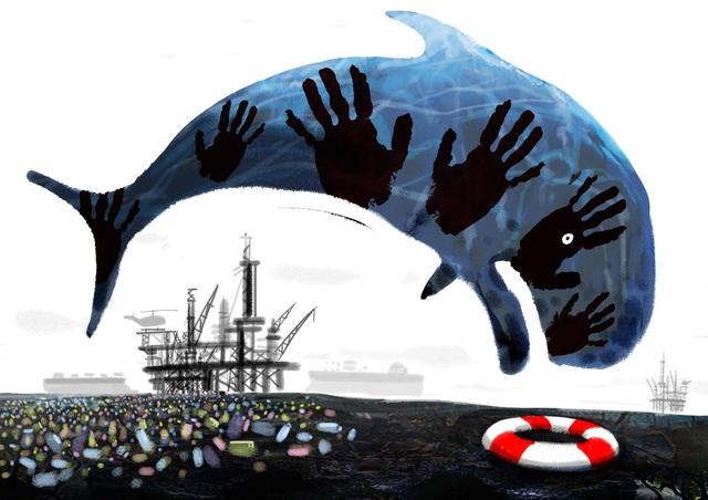 Bức vẽ của Markus Grolik (Đức). Những vụ tràn dầu, rác thải, chai lọ nhựa đang khiến các loài động vật biển phải đối diện với những nguy cơ của sự tồn vong.