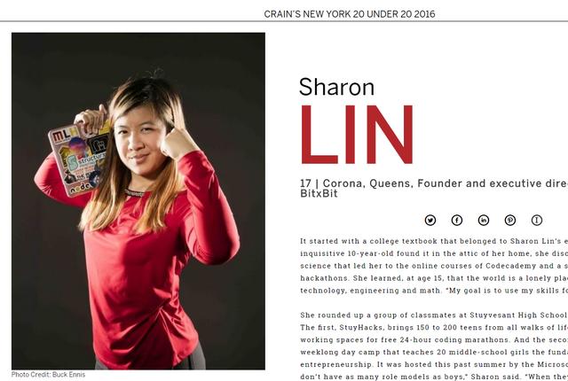 Sharon Lin trong danh sách 20 doanh nhân trẻ dưới 20 tuổi của tạp chí doanh nghiệp Crain.