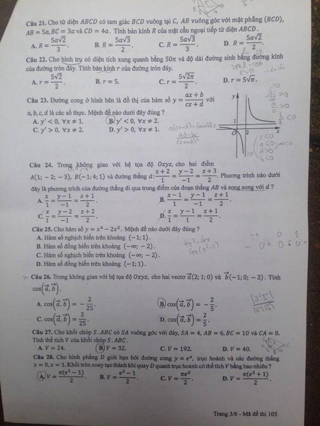 Đáp án gợi ý môn Toán trắc nghiệm mã đề 105 - 3