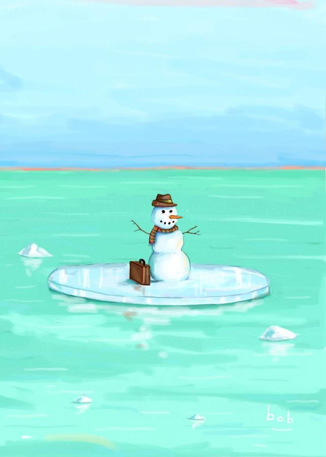Bức vẽ của Bob Eckstein (Mỹ) về một người tuyết đi di cư trong cảnh… băng tan.