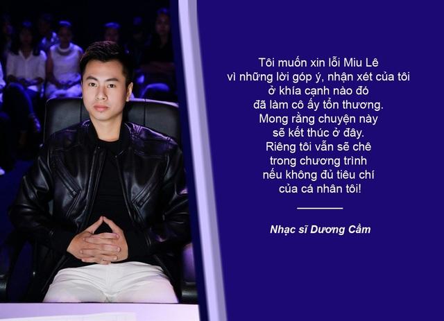 """Xem thêm: Dương Cầm xin lỗi Miu Lê sau phát ngôn """"không đủ trình làm ca sĩ"""""""