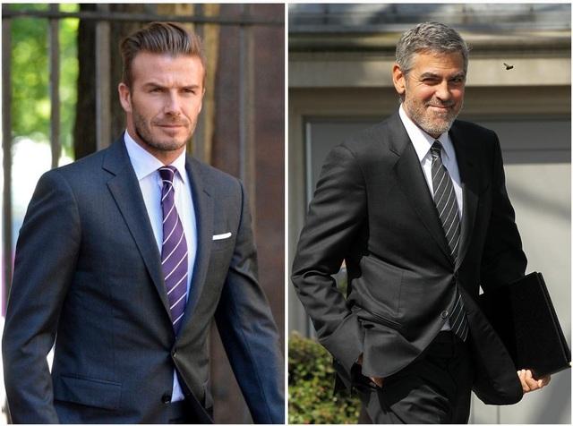 Cựu cầu thủ David Beckham và tài tử George Clooney không cài cúc cuối áo vest.