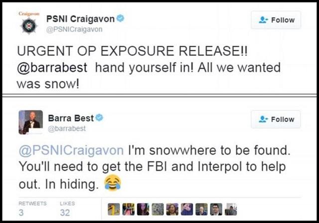 """Đăng tải hài hước của cảnh sát thị trấn Craigavon đã khiến """"khổ chủ"""" - biên tập viên thời tiết Barry Best - hồi đáp lại bằng một sự hài hước tương tự thông qua tài khoản mạng xã hội, rằng: """"Không thể tìm thấy tôi được đâu… Tôi đang trốn nhé""""."""