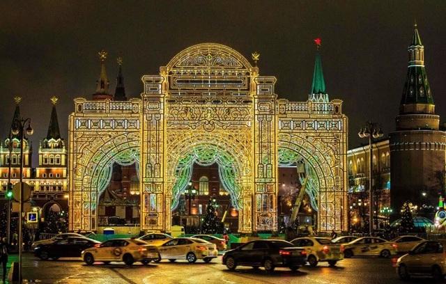 Trang hoàng phía trước điện Kremlin, thành phố Moscow, Nga.