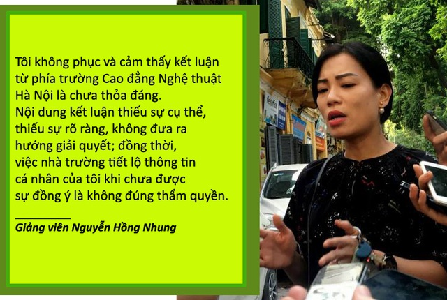Xem thêm: Giảng viên Hồng Nhung phản ứng sau kết luận của trường Cao đẳng Nghệ thuật Hà Nội Trường Nghệ thuật Hà Nội đã có kết luận về những tố cáo của vợ nghệ sĩ Xuân Bắc