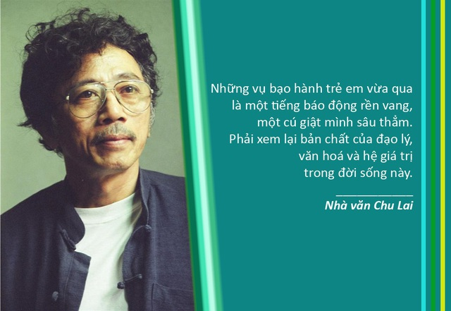 """Xem thêm: Nhà văn Chu Lai: """"Những vụ bạo hành trẻ em gần đây thật sự kinh hoàng"""""""