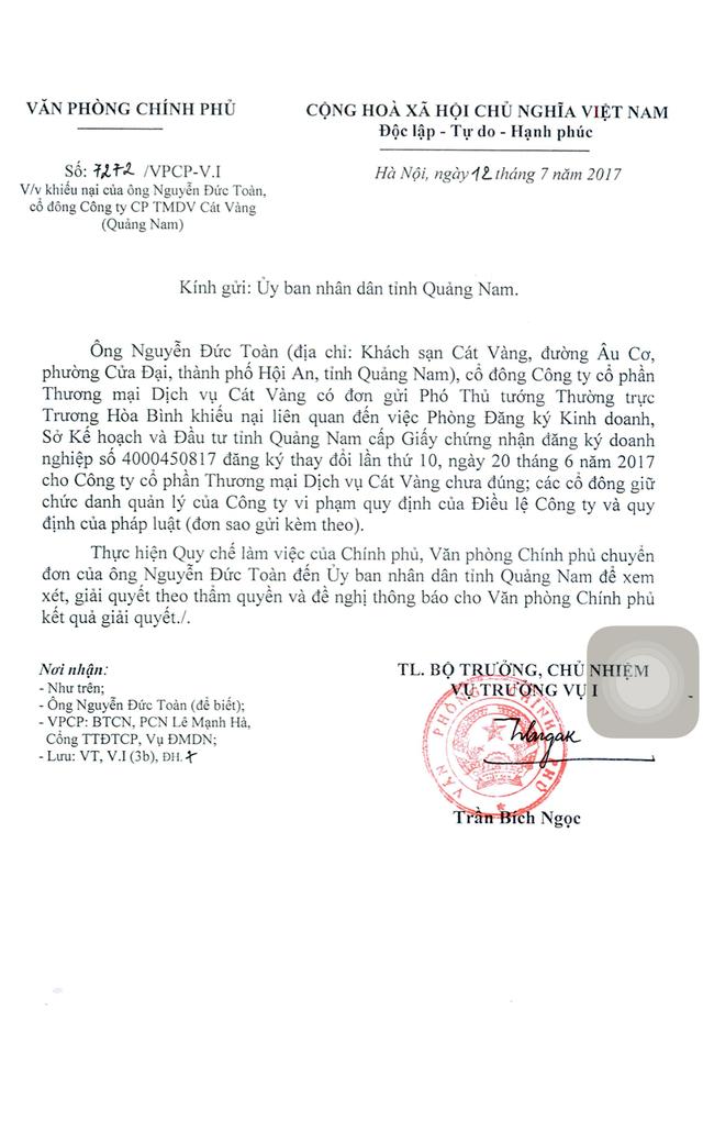 Văn bản của Văn phòng Chính phủ yêu cầu tỉnh Quảng Nam làm rõ vụ việc