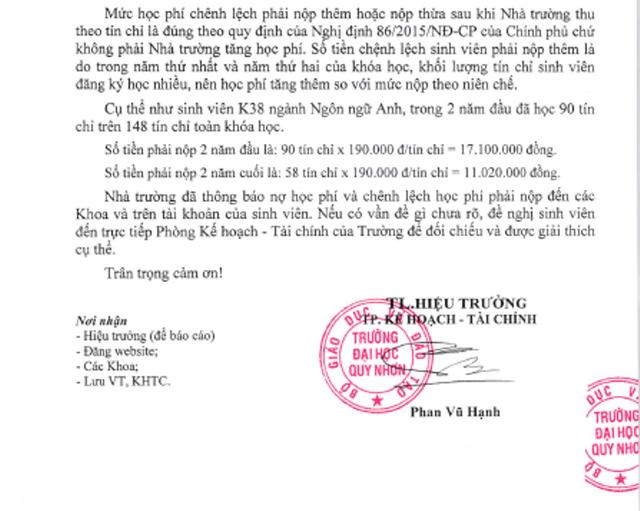 Trường ĐH Quy Nhơn giải thích chênh lệch học phí nộp thu theo tín chỉ và tạm thu theo niên chế.