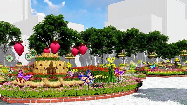 Nối tiếp là đại cảnh Lộc xuân gồm kết cấu tròn nhiều tầng cao thấp, giỏ hoa và đồng tiền bằng nứa tạo thành tháp đỡ hoa, xung quanh là đàn bướm màu sắc rực rỡ