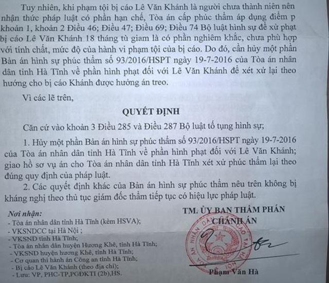Một phần bản quyết định Giám đốc thẩm của TAND Cấp cao tại Hà Nội.