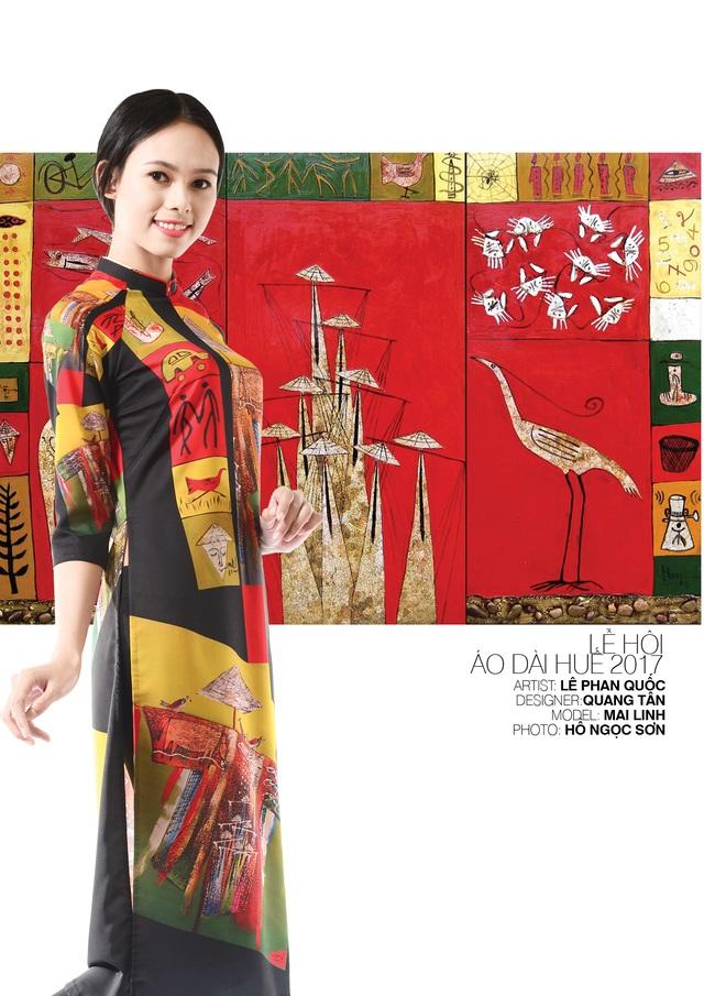 Áo dài NTK Quang Tân trên nền tranh họa sĩ Lê Phan Quốc