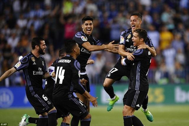 Thắng Malaga 2-0 tại La Rosaleda, Real Madrid lên ngôi vô địch La Liga