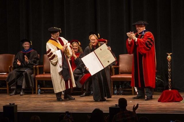 Nữ diễn viên Meryl Streep có ba bằng Tiến sĩ danh dự trong lĩnh vực Nghệ thuật của ba trường Đại học, gồm Harvard, Yale và Princeton. Meryl Streep được ghi nhận bởi tài năng diễn xuất điện ảnh. Bà từng nhận được 20 đề cử Oscar và rinh về 3 tượng vàng.