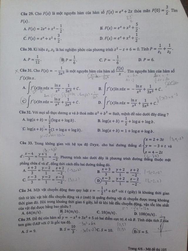Đáp án gợi ý môn Toán trắc nghiệm mã đề 105 - 4