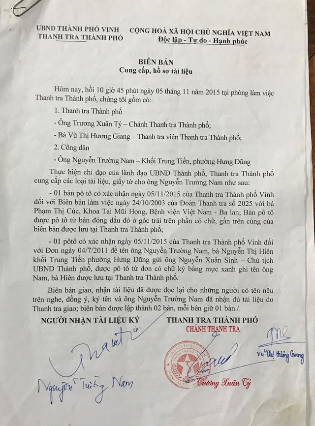 Thì đến ngày 5/11/2015, Thanh tra đô thị Thành phố Vinh đã cung cấp đầy đủ hồ sơ, tài liệu cho ông Nam.