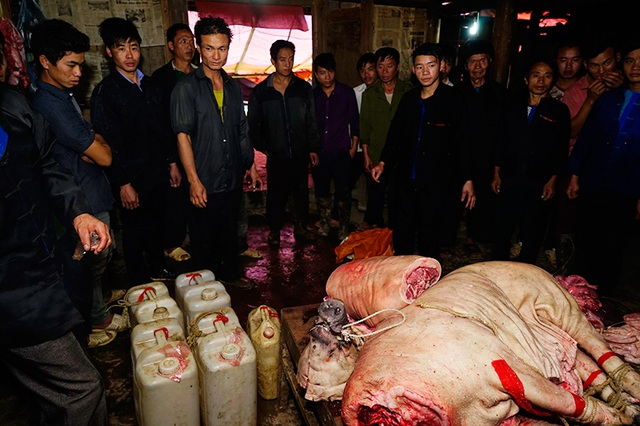 Nhà trai bàn giao rượu và thịt lợn cho nhà gái