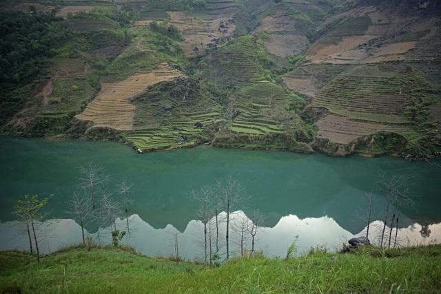 Nước sông Nho Quế tự nhiên trong xanh soi bóng núi trông cực kỳ đẹp mắt.