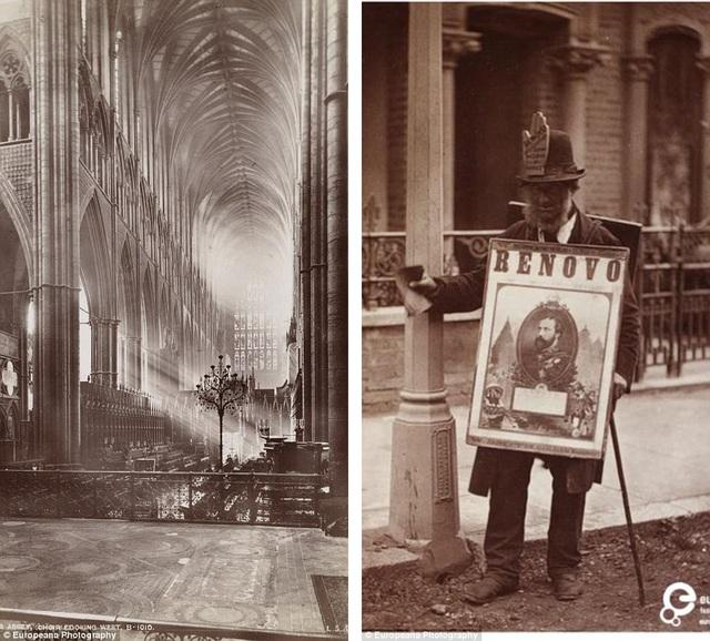 Ảnh trái: Ánh nắng mặt trời chiếu xuyên qua các cửa sổ vào trong tu viện Westminster ở London, Anh. Ảnh phải: Một người bán hàng rong trên đường phố London đang chào hàng.