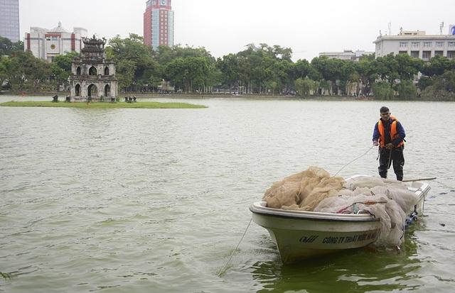 Lưới to dùng để cách ly thủy sinh động vật dưới hồ.