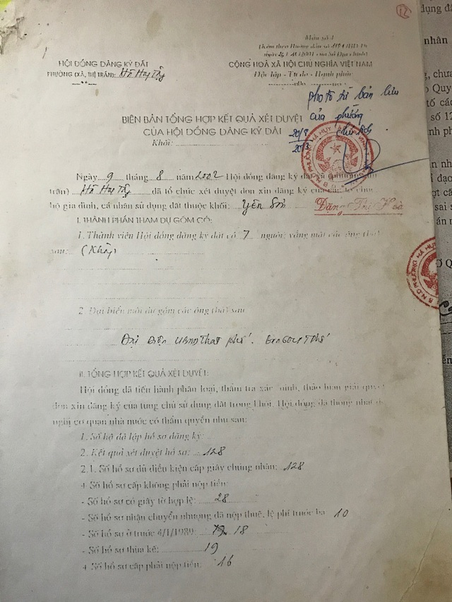 Cùng ngày 9/8/2002, UBND phường Hà Huy Tập tổng hợp kết quả có 128 hồ sơ, thì trong đó chỉ có 28 hồ sơ có giấy tờ hợp lệ; có 19 hồ sơ thừa kế và có của cả bà Cúc.