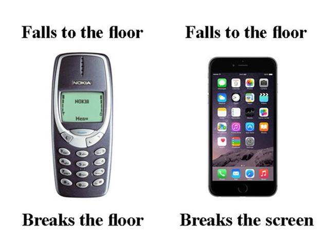 Ngày xưa khi điện thoại rớt xuống sàn thì gạch sẽ vỡ, còn giờ đây nếu chúng ta lỡ tay làm rơi thì smartphone sẽ vỡ ngay màn hình.
