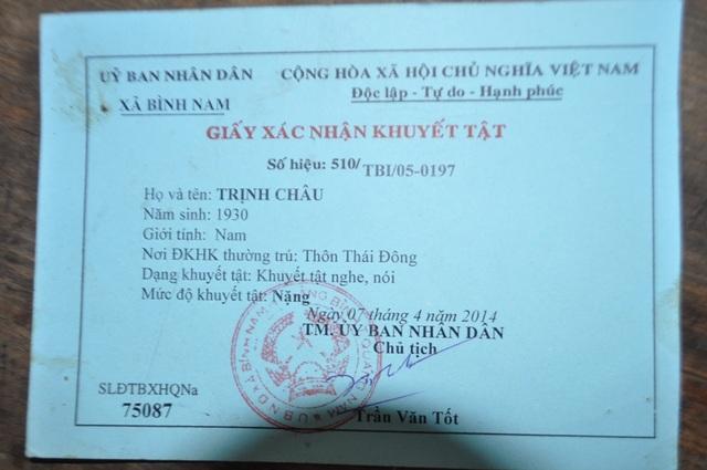 Giấy chứng nhận khuyết tật của ông Trịnh Châu