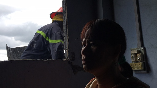 Chị Lê Hồng Thu vẫn chưa thật sự hoàn hồn sau vụ cháy.