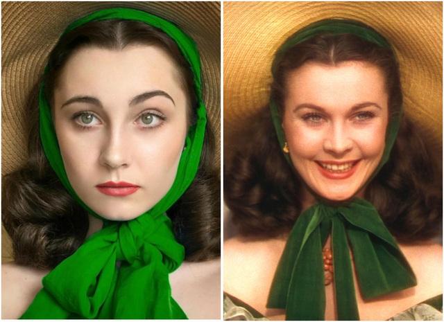 """Annelies (trái) hóa thân thành nhân vật Scarlett OHara do nữ diễn viên Vivien Leigh đảm nhận (phải) trong phim """"Gone With the Wind"""" (Cuốn theo chiều gió - 1939)."""