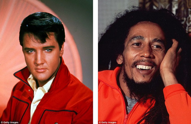 """""""Ông hoàng nhạc rock & roll"""" Elvis Presley (trái) đứng vị trí thứ 4 (với 35 triệu USD); nam ca sĩ Bob Marley đứng thứ 5 (với 23 triệu USD)."""