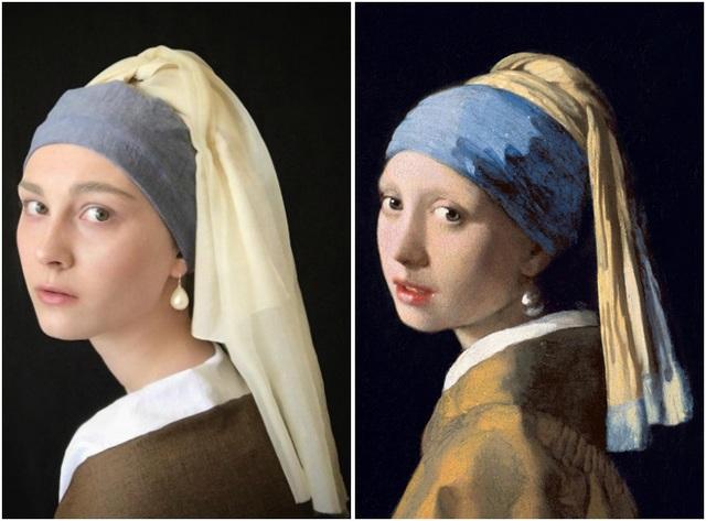 """Trở thành người đẹp trong bức tranh nổi tiếng """"Cô gái đeo khuyên tai ngọc trai"""" của danh họa người Hà Lan Johannes Vermeer."""