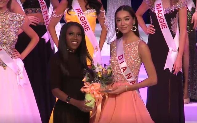Diana Lai trong khoảnh khắc trở thành Á hậu 3 Hoa hậu Hoàn vũ Canada 2017.
