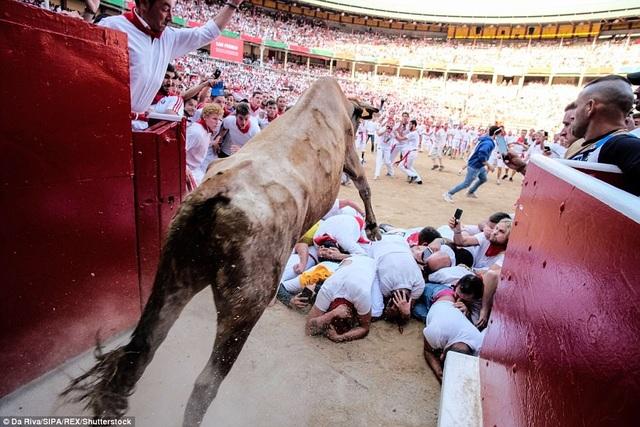 Một con bò nhảy qua nhóm người đang nằm rạp dưới đất để chạy vào sân đấu.