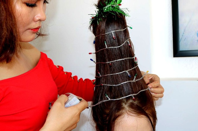 Cẩn thận trang trí lên trụ tóc