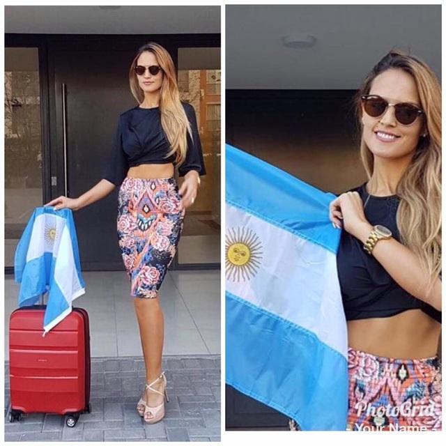 Hoa hậu Argentina khoe thân hình bốc lửa của mình trước chuyến đi dài.