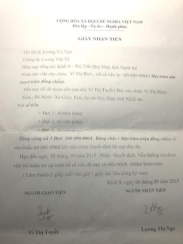 Giấy ghi nhận tiền của chị Vi Thị Bích mà cô Nga nhận 3 lần với số tiền 100 triệu đồng.