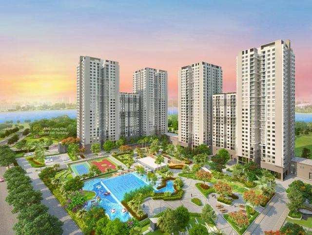 Các căn hộ hướng Tây Nam của tòa nhà D trong đợt 5 công bố sẽ được hưởng cảnh quan của toàn dự án