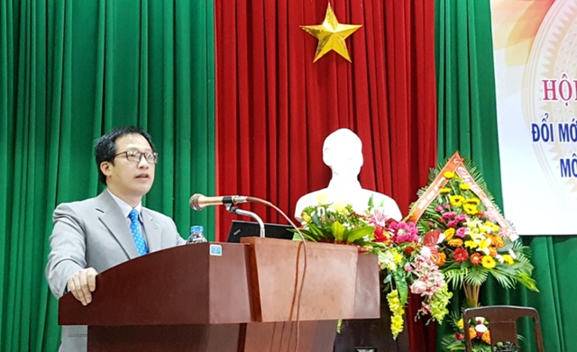 TS. Lê Anh Phương, tân Hiệu trưởng Đại học Sư phạm - Đại học Huế phát biểu chào mừng