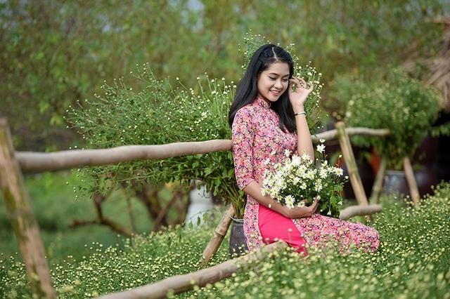 Dưới đây là những hình ảnh thiếu nữ Lê Minh Tâm bên vườn cúc họa mi