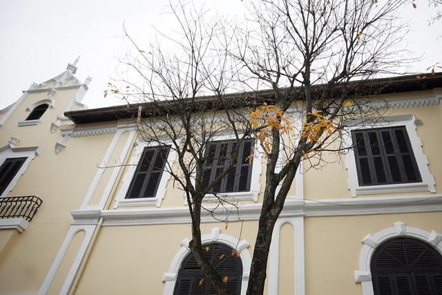 Những tán lá vàng tô điểm cho tòa nhà cổ trên phố Đinh Tiên Hoàng