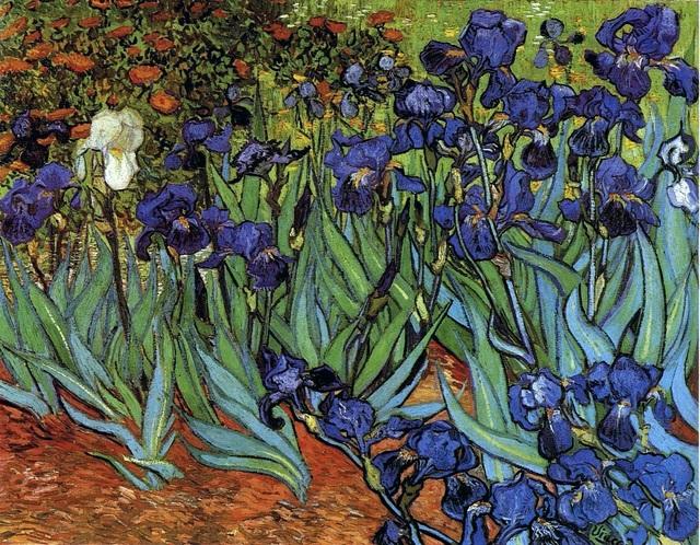 """Đứng thứ 9 là bức """"Irises"""" (Hoa diên vĩ - 1889) của danh họa người Hà Lan Vincent van Gogh. Bức tranh từng được mua hồi năm 1987 với mức giá 53,9 triệu USD, giờ đây, con số ấy tương đương với 113,6 triệu USD (2.581 tỷ đồng)."""
