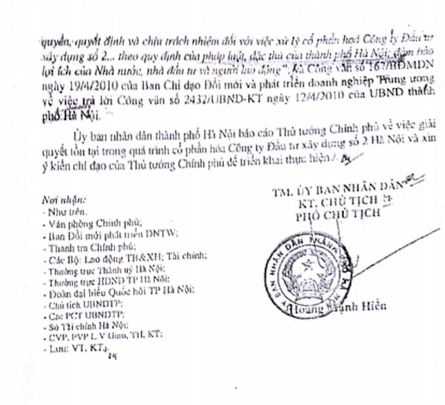 UBND TP Hà Nội khẳng định rõ: Thanh tra Chính phủ kiến nghị chấp nhận việc chuyển nợ thành vốn góp khi thanh toán tiền mua cổ phần và công nhận kết quả bán cổ phần của HACINCO (theo Kết luận số 2125/KL-TTCP ngày 01/9/2009) là không phù hợp với quy định pháp luật.