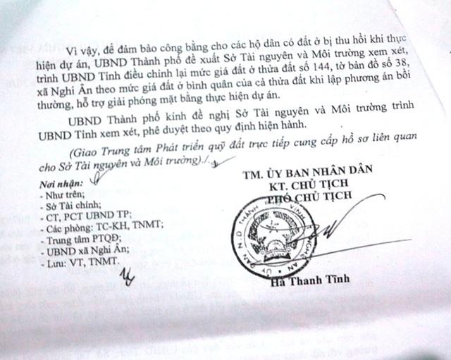 Văn bản trả lời của UBND TP Vinh, trong đó nêu rõ việc sẽ xác định phân lớp trong quá trình đền bù cho thửa đất số 144 tuy nhiên trên thực tế lại không thực hiện đúng theo văn bản này.