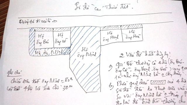 Sơ đồ minh họa của người dân, trong đó phần kẻ vạch chéo màu xanh là diện tích đất của thửa số 144 và 4 thửa đất của người dân nằm sát mặt đường quốc lộ 46. Phần gạch chéo màu đen là phần đất của 4 hộ dân bị đo lùi vào.
