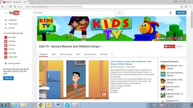 Kid's Tivi có tới hơn 3,5 triệu lượt người đăng ký theo dõi.