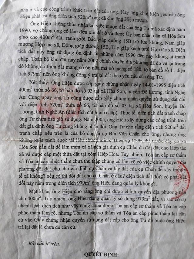 Quyết định tuyên hủy hai bản án sơ thẩm, phúc thẩm của Tòa án nhân dân huyện Đô Lương và Tòa án nhân dân tỉnh Nghệ An trước đó về vụ tranh chấp lô đất số 66 của gia đình ông Nguyễn Đình Hiệu và gia đình ông Bùi Văn Tư của Tòa án nhân dân tối cao.