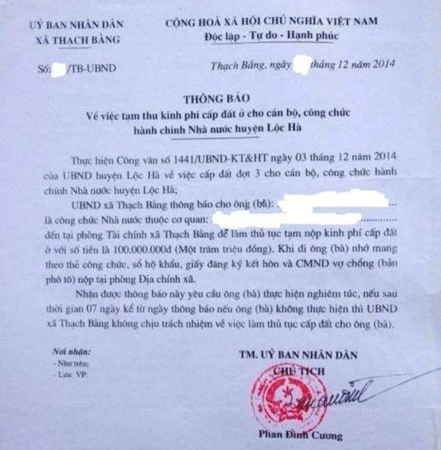 Thông báo của UBND xã Thạch Bằng yêu cầu các đối tượng được cấp đất khẩn trương nộp tiền