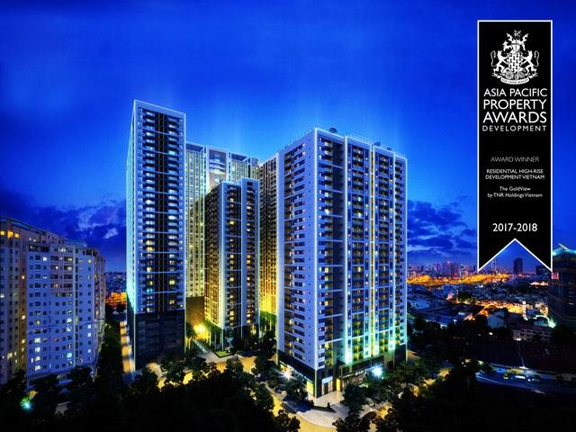 """Với vị trí """"vàng"""", thiết kế độc đáo cùng với hệ thống tiện ích đẳng cấp, The GoldView hoàn toàn chinh phục hội đồng giám khảo quốc tế và được bình chọn là """"Dự án căn hộ cao cấp tiêu biểu tại Việt Nam"""" của hệ thống giải thưởng IPA"""