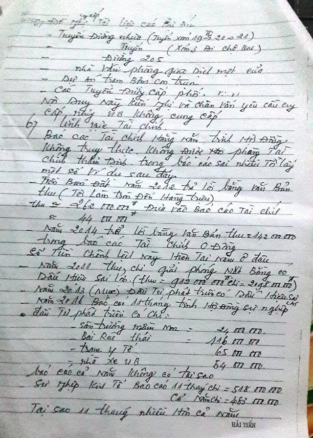 Đơn thư ông Minh gửi các cơ quan chức năng yêu cầu làm rõ các nội dung thông tin liên quan đến tài chính tại xã Diễn Phú.