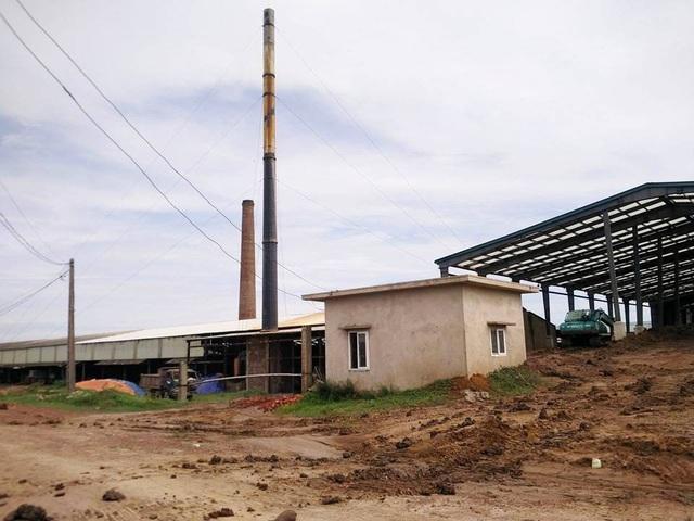 Hành lang bảo vệ đê sông Vạc bị nhà máy gạch lấn chiếm, biến thành đất sản xuất kinh doanh của công ty.