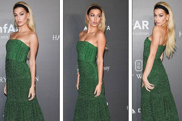 Chân dài 20 tuổi Hailey Baldwin nổi bật trọng bộ váy xanh